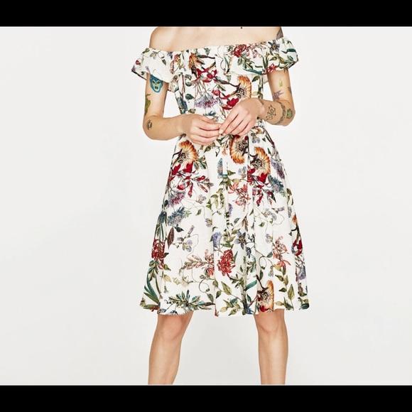 4c907e17fc44 Zara Dresses | Floral Off Shoulder Dress | Poshmark
